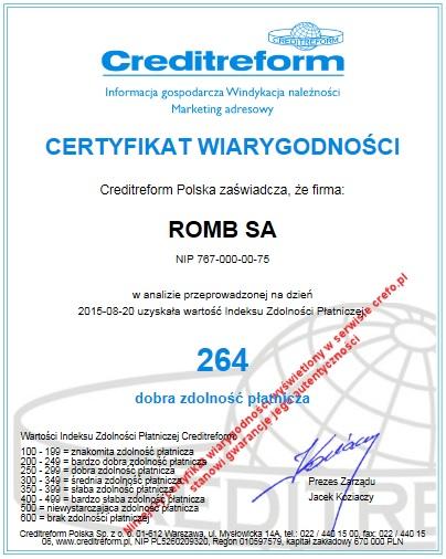 Certyfikat_Wiarygodnosci_Creditreform_ROMB_SA_PL